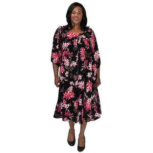 Pink Botanic Float Dress Women's Plus Size Dress