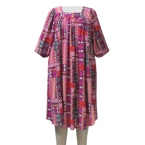 Pink Tribal Float Dress Women's Plus Size Dress