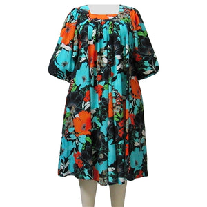 Turquoise Blossom Dress Women's Plus Size Dress