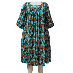 Turquoise Floral Garden Float Dress Women's Plus Size Dress