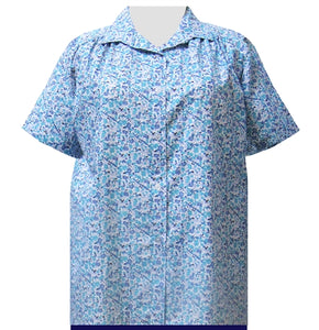 Aqua Cute Calico Short Sleeve Tunic with Shirring Women's Plus Size Blouse