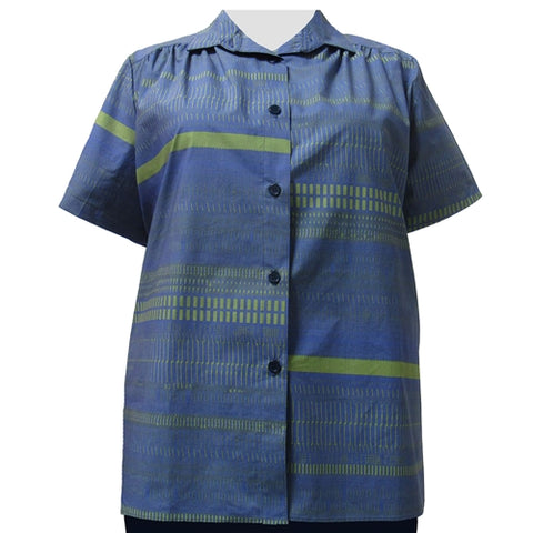 Blue & Green Graph Short Sleeve Tunic with Shirring Women's Plus Size Blouse