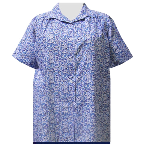 Blue Cute Calico Short Sleeve Tunic with Shirring Women's Plus Size Blouse