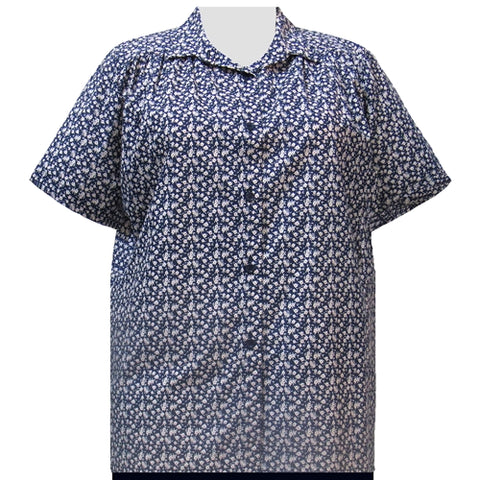 Blue Ditsy Short Sleeve Tunic with Shirring Women's Plus Size Blouse