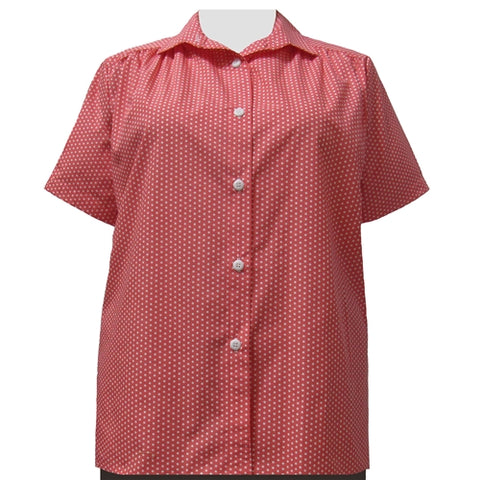 Melon Dots Short Sleeve Tunic with Shirring Women's Plus Size Blouse