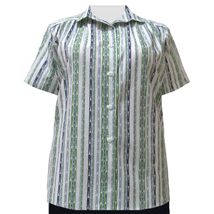 Multi Painted Stripe Short Sleeve Tunic with Shirring Women's Plus Size Blouse