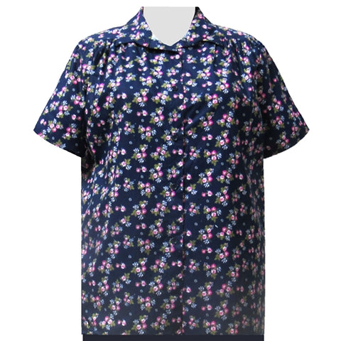 Navy Bouquet Short Sleeve Tunic with Shirring Women's Plus Size Blouse