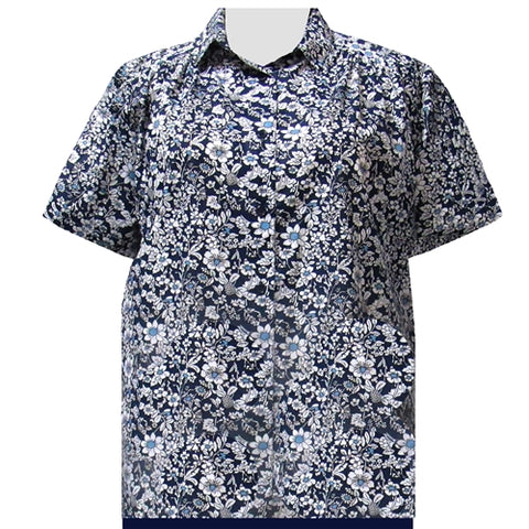 Navy Field Of Dreams Short Sleeve Tunic with Shirring Women's Plus Size Blouse