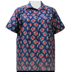 Navy Really Rosy Short Sleeve Tunic with Shirring Women's Plus Size Blouse