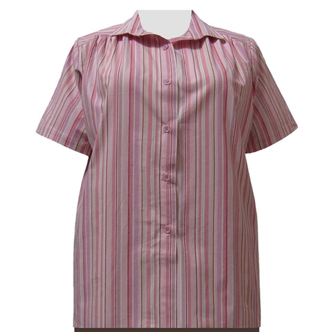Pink Stripe Short Sleeve Tunic with Shirring Women's Plus Size Blouse