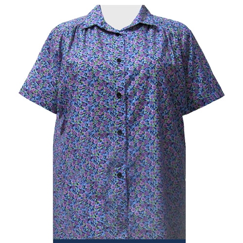 Purple Tres Jolie Short Sleeve Tunic with Shirring Women's Plus Size Blouse