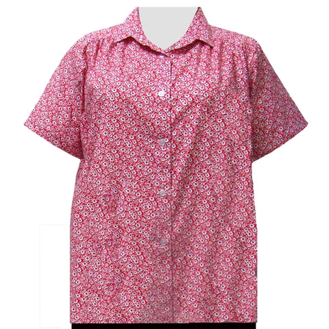 Red Flirty Short Sleeve Tunic with Shirring Women's Plus Size Blouse