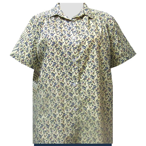 Yellow Prairie Short Sleeve Tunic with Shirring Women's Plus Size Blouse