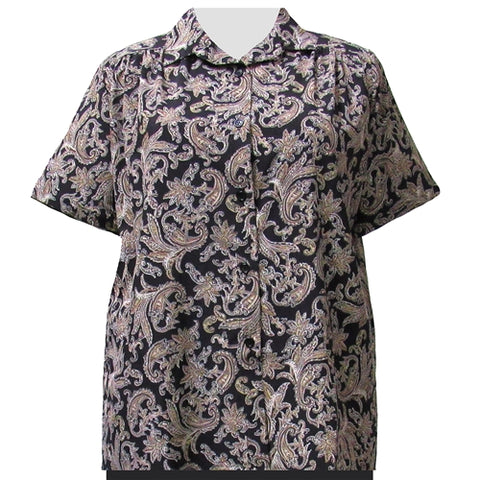 Taupe Paisley Design Short Sleeve Tunic with Shirring Women's Plus Size Blouse