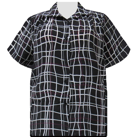 Black Windowpane Short Sleeve Tunic with Shirring Women's Plus Size Blouse