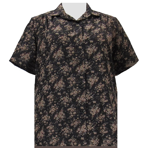 Brown Breck Short Sleeve Tunic with Shirring Women's Plus Size Blouse