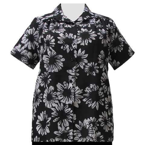 Black & White Sunflower Short Sleeve Tunic with Shirring Women's Plus Size Blouse