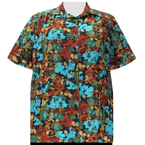 Multi Marigolds Short Sleeve Tunic with Shirring Women's Plus Size Blouse