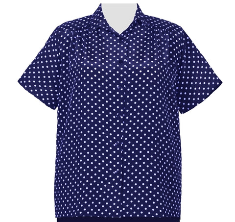 Navy Aspirin Dots Short Sleeve Tunic with Shirring Women's Plus Size Blouse