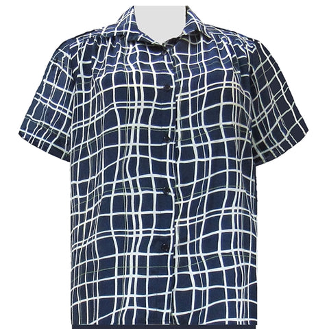 Navy Windowpane Short Sleeve Tunic with Shirring Women's Plus Size Blouse