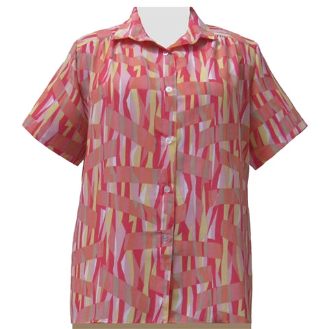 Coral Pageant Short Sleeve Tunic with Shirring Women's Plus Size Blouse