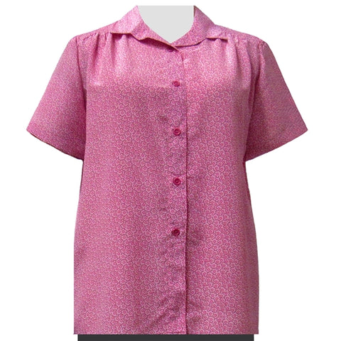 Pink Daisy Short Sleeve Tunic with Shirring Women's Plus Size Blouse