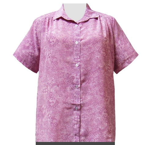 Pink Lace Print Short Sleeve Tunic with Shirring Women's Plus Size Blouse