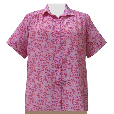 Pink Pasha Short Sleeve Tunic with Shirring Women's Plus Size Blouse