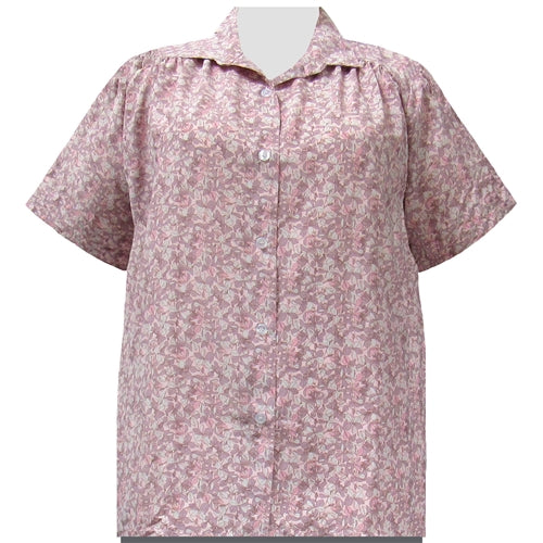 Pink Stella Short Sleeve Tunic with Shirring Women's Plus Size Blouse