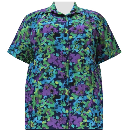 Purple Marigolds Short Sleeve Tunic with Shirring