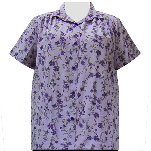 Purple Serena Short Sleeve Tunic with Shirring Women's Plus Size Blouse