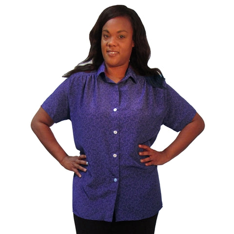 Tila Purple Short Sleeve Tunic with Shirring Women's Plus Size Blouse