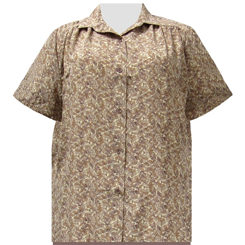 Tan Stella Short Sleeve Tunic with Shirring Women's Plus Size Blouse