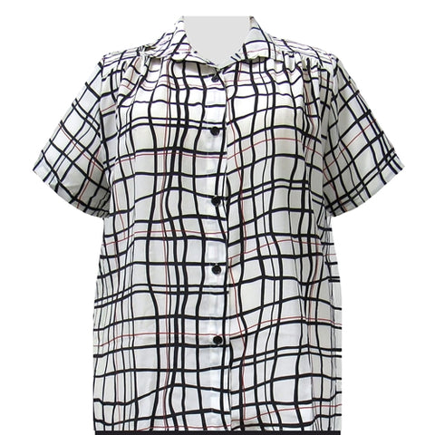 White Windowpane Short Sleeve Tunic with Shirring Women's Plus Size Blouse