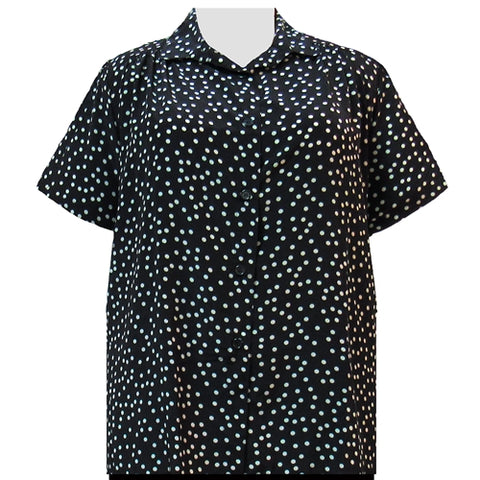 Black & Grey Aspirin Dots Short Sleeve Tunic with Shirring Women's Plus Size Blouse
