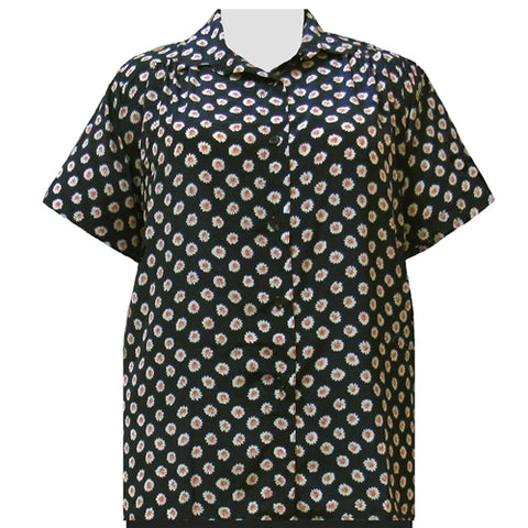 Black Charming Short Sleeve Tunic with Shirring Women's Plus Size Blouse
