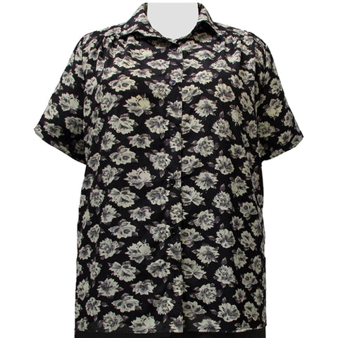 Black Floral Short Sleeve Tunic with Shirring Women's Plus Size Blouse