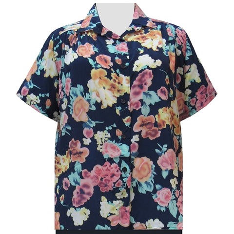 Blue Painted Floral Short Sleeve Tunic with Shirring Women's Plus Size Blouse