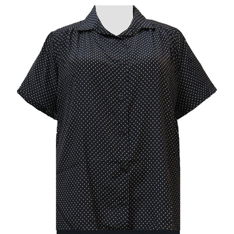 Black & White Pindot Short Sleeve Tunic with Shirring Women's Plus Size Blouse