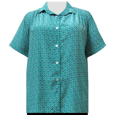 Confetti Short Sleeve Tunic with Shirring Women's Plus Size Blouse