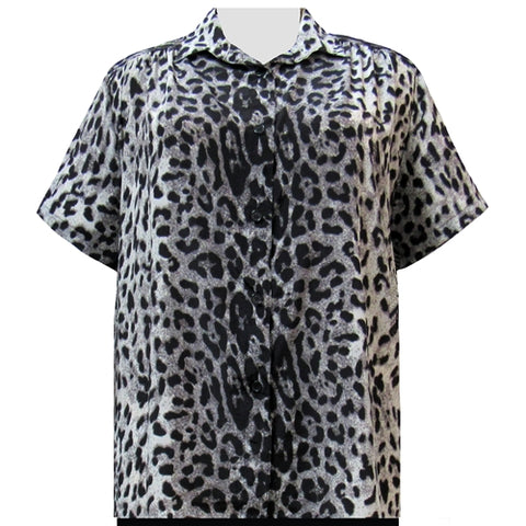 Grey Snow Leopard Short Sleeve Tunic with Shirring Women's Plus Size Blouse