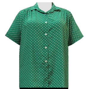 Kelly Dots Short Sleeve Tunic with Shirring Women's Plus Size Blouse