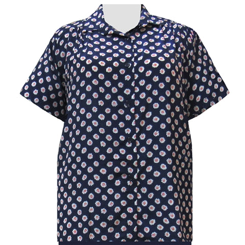 Navy Charming Short Sleeve Tunic with Shirring Women's Plus Size Blouse