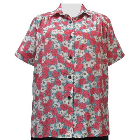 Retro Garden Short Sleeve Tunic with Shirring Women's Plus Size Blouse