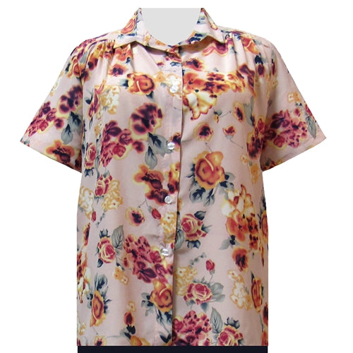 Shell Pink Painted Floral Short Sleeve Tunic with Shirring Women's Plus Size Blouse