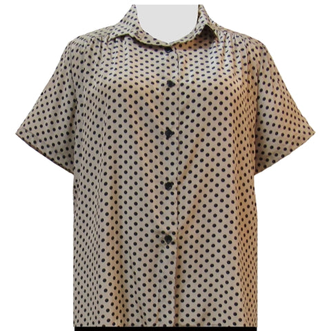 Tan & Black Aspirin Dots Short Sleeve Tunic with Shirring Women's Plus Size Blouse