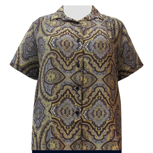 Gold Mandala Short Sleeve Tunic with Shirring Women's Plus Size Blouse