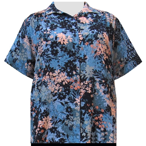 Slate Wildflowers Short Sleeve Tunic with Shirring Women's Plus Size Blouse