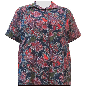 Spice Paisley Floral Short Sleeve Tunic with Shirring Women's Plus Size Blouse