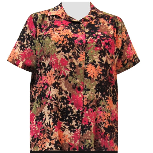 Spice Wildflowers Short Sleeve Tunic with Shirring Women's Plus Size Blouse